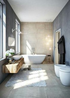 Modern bathroom with neutral floor tile #luxurybathrooms