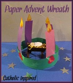 Easy Advent Wreath for Kids {St. Lucy's Day Wreath, too!} - Catholic Inspired ~ Arts, Crafts, and Activities! Preschool Christmas, Christmas Activities, Christmas Crafts For Kids, Preschool Crafts, Christmas Tables, Nordic Christmas, Reindeer Christmas, Modern Christmas, Christmas 2019