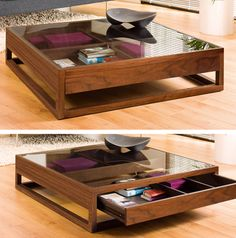 A classic idea given a contemporary twist, this coffee table is great for… Dieser Couchtisch ist ein Centre Table Design, Wood Table Design, Coffee Table Design, Centre Table Living Room, Center Table, Home Decor Furniture, Luxury Furniture, Furniture Design, Italian Furniture