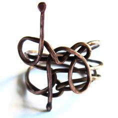 Copper Wire Snake Ring Unisex Boho Fashion by gimmethatthing, £14.00