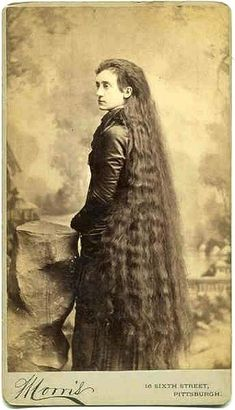 "c. 1900: Isabella's hair was six feet long (180cm). She married twice. The Seven Sutherland sisters were a group of singing women from Niagara, New York, famous for their very long hair. They went on to make millions of dollars with sales of hair tonic""  - The Rapunzel Long Hair Archive  Pictures from Niagara County Historical Society"