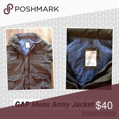 Gap military jacket Men's green army jacket. Has button and zip front. Several pockets and a hide away hood. GAP Jackets & Coats Military & Field