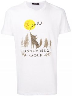 Logo Wolf Print T-Shirt White Men is available in Dsquared Sale and Dsquared Outlet online store including jeans sale. Cotton Logo, Printed Cotton, Modern Gentleman, Jeans For Sale, White Man, Dsquared2, Short Sleeves, Menswear, Wolf