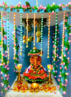 Creative ganpati decoration ideas with flowers homemade ganpati decoration ideas ganpati decoration ideas ganpati decoration design pattern, ganpati decoration ganesh decoration ideas for home, Flower Decoration For Ganpati, Eco Friendly Ganpati Decoration, Ganpati Decoration Design, Housewarming Decorations, Diy Diwali Decorations, Festival Decorations, Flower Decorations, Gauri Decoration, Ganesh Chaturthi Decoration