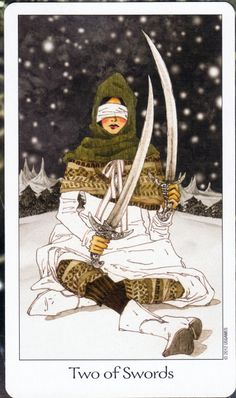 Two of Swords - Dreaming Way Tarot .... A beautiful card honoring the introvert. Have faith in your intuition, try meditation, and honor balance between quiet time alone and the busy world.