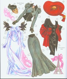 Hollywood Goes to Paris paper doll book costumes from Gigi, Moulin Rouge! and Pret-a-Porter.  Page 8 of 8 page book by David Wolfe. Available from paperdollreview.com.