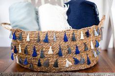 DIY Tassel #Basket by Erica in D.I.Y. http://honestlywtf.com/diy/diy-tassel-basket/