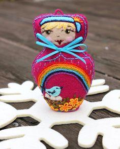 Matryoshka  Felt  Doll Hand Embroidered by TheSnowQueensGarden, $27.50