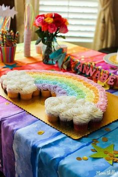 Make rainbow cupcakes into a rainbow cake for True and the Rainbow Kingdom party Rainbow Birthday Party, Unicorn Birthday Parties, Baby Birthday, First Birthday Parties, First Birthdays, 1st Birthday Cupcakes, Rainbow Parties, Rainbow Party Decorations, Trolls Birthday Party Ideas Cake