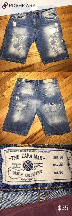 "Authentic The Zara Man Denim Collection Thrashed Jean shorts inseam 10"" Zara Shorts Jean Shorts"
