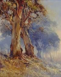 Featuring work by D'Arcy Doyle - Old Gum Trees available at Anthea Polson Art on the Gold Coast Australia, specialising in contemporary Australian art and sculpture Tree Watercolor Painting, Watercolor Landscape, Landscape Art, Landscape Paintings, Australian Painting, Australian Artists, Landscape Tattoo, Tree Art, Artist Art