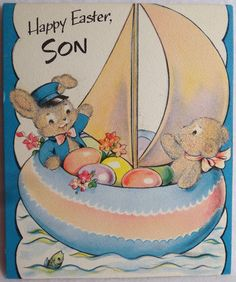 84 Fuzzy Bunnies in The Sailboat Vintage Easter Greeting Card | eBay