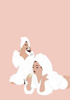 Flat design illustration of classy women. This illustration shows 2 girl friends, best friends - Towel Illustration Art Dessin, Friends Illustration, Flat Design Illustration, Beauty Illustration, Portrait Illustration, Design Illustrations, Portraits Illustrés, Girl Background, Girl Cartoon