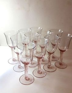 Pink Goblets with Large Stems S/11
