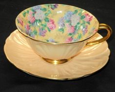 SHELLEY SUMMER GLORY CHINTZ OLEANDER TEA CUP AND SAUCER PEACH