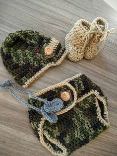 Army Newborn Crochet Outfit Military Photo Prop by georgeshandmade