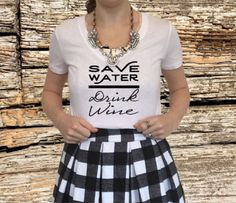 Save Water Drink Wine - Women's V Neck T Shirt - Wine Shirt, Wine Lovers Tee, Bachelorette Party Shirt, Save Water Drink Wine T Shirt by North2SouthDesigns on Etsy https://www.etsy.com/listing/267067236/save-water-drink-wine-womens-v-neck-t