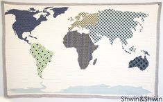 """I'm dying from the cute! This is going on the """"must make"""" list! Shwin&Shwin: World Map Quilt 