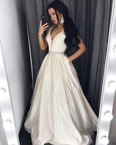 Long Deep V neck Satin Evening Dress with Beaded Waist and Pockets
