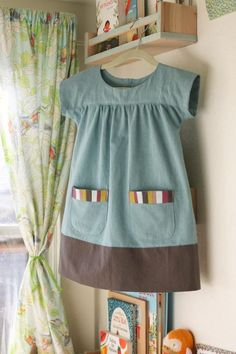 """birthday dress From Oliver + S's """"Ice cream Dress"""". ideal as a dress or tunic for littles, and scaled up as a smock for bigs, too!From Oliver + S's """"Ice cream Dress"""". ideal as a dress or tunic for littles, and scaled up as a smock for bigs, too! Sewing Kids Clothes, Sewing For Kids, Baby Sewing, Diy Clothes, Barbie Clothes, Sewing Blogs, Sewing Tutorials, Sewing Projects, Sewing Crafts"""