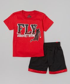 Love this Red 'Fly' Tee & Black Shorts - Infant, Toddler & Boys by Above The Rim on #zulily! #zulilyfinds