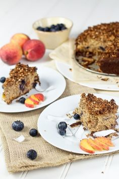 Peaches and Blueberry Coffee Cake  Grain Free, Gluten Free, No Sugar Added