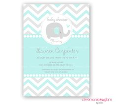 Baby shower elephant aqua and grey  chevron printable invitation (ceremoniaGlam on Etsy)