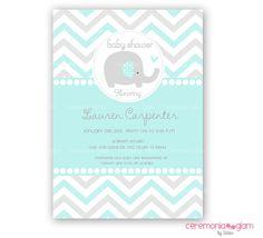 Baby shower elephant aqua and grey  chevron printable invitation (ceremoniaGlam on Etsy)