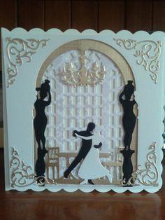 Handmade wedding card using build a scene ballroom dies (Xcut build a scene die cut set)