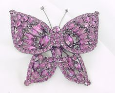 Large Purple Butterfly Pin Brooch