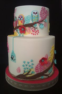 Owls christening cake (and a first birthday!) - by Fatcakes @ CakesDecor.com - cake decorating website