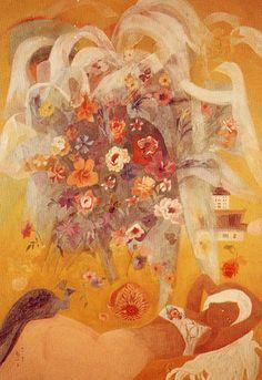 (Korea) Flowers & Butterflies by Chun Kyung-ja (1924-2015). Korean. 천경자.