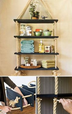 diy shelves DIY Rope Shelves - longer and wider apart would be great for herbs in the kitchen Rope Shelves, Diy Hanging Shelves, Hanging Rope, Suspended Shelves, Glass Shelves, White Shelves, Wall Shelves, Floating Shelves, Beach House Decor