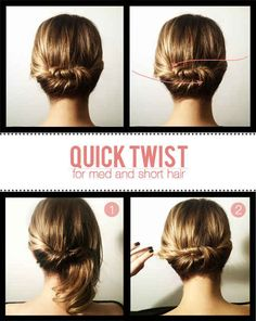 Quick Twist for Shorter Hair | 23 Five-Minute Hairstyles For Busy Mornings