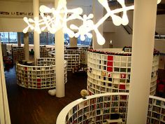 Circular bookshelves in a library in Amsterdam