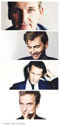 Doctor Who - 9 (Christopher Eccelston), 10 (David Tennant), 11 (Matt Smith), 12 (Peter Capaldi). Doctor Who, Twelfth Doctor, Matt Smith, David Tennant, Tardis, Benedict Cumberbatch, Sherlock, Geeks, Serie Doctor