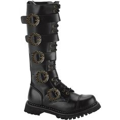MENS SIZING Knee High Boots Gothic Combat Boots Steampunk Hardware ($73) ❤ liked on Polyvore featuring mens, men's shoes e men's boots