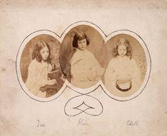 Ina Liddell; Alice Liddell; Edith Liddell  by Lewis Carroll   1858-1860  albumen prints, triptych
