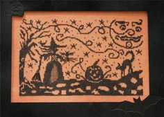 Dames of the Needle Starry Witch - Cross Stitch Pattern. Model stitched on 30 Ct. Carrot linen with Weeks Dye Works floss. Stitch Count: 136x85.