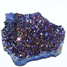 "Rainbow Flame Aura Amethyst Cluster - Thin Amethyst Cluster bonded with Gold and Titanium; produces vivid multi-colored metallic crystals. Size: About 4"" to 6"" Long. Each piece is uniquely shaped Meta"
