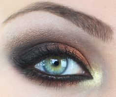 Metalic eyeshadow trend, tutorial here: http://www.youtube.com/watch?v=H2ZlFcLddGY&feature;=channel_video_title