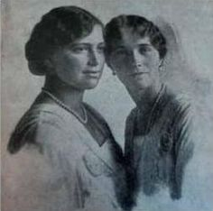 """Rare formal photo of Maria & Olga in 1916, from Helen Rappaport's book, """"Four Sisters"""""""