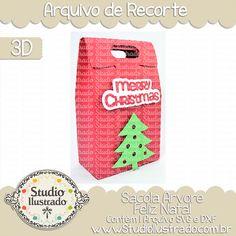 Merry Christmas Tree Bag, Sacola Árvore Feliz Natal, Christmas, Natal, Navidad, Feliz Natal, Merry Christmas, Feliz Navidad, Presente, Gift, Arabescos, 3D, Modelo 3D, Projeto 3D, Bag, Sacola, Sacolinha, Silhouette, Arquivo de Recorte, DXF, SVG, PNG