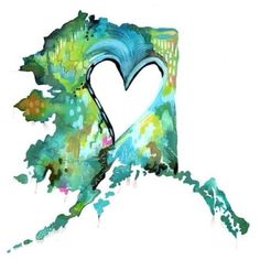 Alaska....love this! Just would some pinks and purples, possibly put coordinates in the heart