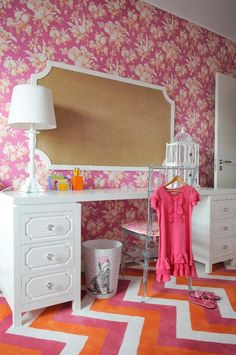 teen bulletin boards for rooms   ... bulletin board acrylic chair pink orange floral wallpaper white