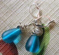Glass and Pearl Earrings Teal Drops Silver Rings by JoJosgems, $12.00