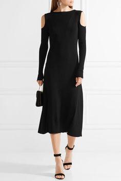 Barbara Casasola - Cold-shoulder Ribbed Stretch-knit Midi Dress - Black - IT38