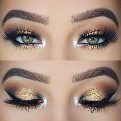 make up natural;make up glitter;make up catrina;make up… make up natural;make up glitter;make up catrina;make up inspo;make up brushes;make up samples;make up promposal;make up selfie;make up expiration; Pretty Eye Makeup, Makeup Looks For Green Eyes, Glitter Eye Makeup, Green Makeup, Stunning Makeup, Gold Makeup Looks, Make Up Ideas For Green Eyes, Amazing Makeup, Stunning Eyes