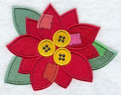 Button Poinsettia design (F6956) from www.Emblibrary.com