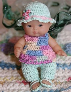 Crochet clothes outfit Berenguer 5 inch by dollcrochetboutique